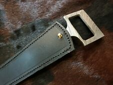 2As KNIVES CUSTOM MADE DAMASCUS STEEL HUNTING KNIFE WITH LEATHER