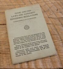 Antique 1948 Game & Fish Laws Authority Governing Regulations Kentucky Booklet