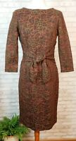 Chetta B dress size brown embroidered body con with tie-front detail