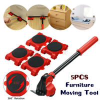 5x Portable Furniture Lifter Mover Furniture Transport Set Tool Kits Iron Red