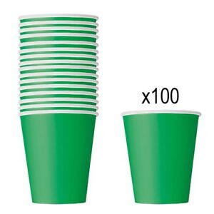 GREEN PAPER CUPS - Pack of 100 - 266ml Birthday Party Picnic Catering Tableware