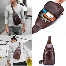 Mens Genuine Leather Chest Back Pack Shoulder Messenger Sling Bag Crossbody US