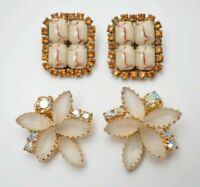 Flower square earrings gold AB glass marble topaz jewelry Vintage Juliana 1960s