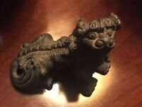 ANTIQUE CHINESE FOO DOG FIGURINES OPUIM  WEIGHT HEAVY BRASS MINIATURE RARE
