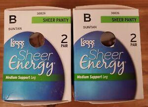 L'eggs Sheer Energy Sheer Panty Medium Support Pantyhose SUNTAN Size B Lot of 2