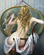 HOT!!Handcraft Portrait Oil Painting on Canvas,Sexy nude girls 24x36(No stretch)