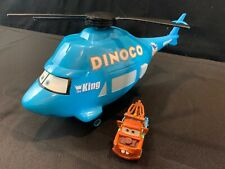 "Disney Pixar Cars Large 14"" Dinoco The King Talking Helicopter Mater Mattel"