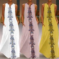 Womens Maxi Boho Long Dress Summer Beach Evening Party Baggy Kaftan Sundress