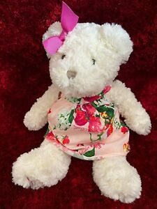 Ted Baker Girl's BEAR soft toy OIL PAINTING baby gift Xmas teddy in dress