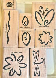 Stampin Up FRESH FLOWERS Two Step  GARDEN SCENE Summer Doodle Leaves  Rubber Set