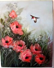 Vintage 80's Original Oil Painting on Canvas Hummingbird with Poppies 16 x 20