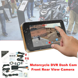 Motorcycle Bikes DVR Dash WiFi HD Front Rear View Camera GPS Logger Recorder Box