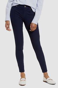 $195 Hue Womens Blue Stretch Fleece Lined Denim Jeggings Leggings Size M