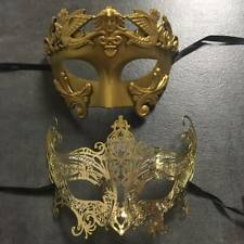 Golden Roman with Beautiful Majestic Queen Metal Masquerade mask 2x couple mask