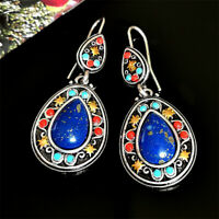 Vintage 925 Silver Ear Hook Dangle Drop Women Blue Gems Earrings Jewelry Elegant