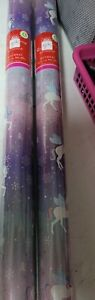 Christmas Wrapping Paper Rolls 2 Pack 5M for Gift Present Wrap lilac UNICORN
