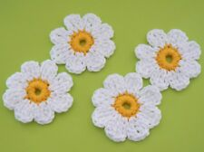 4 Blüten, Applikation, Aufnäher, Häkelblumen, Margeriten, Streublüten gehäkelt