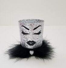 Mini Silver glitter makeup holder cup Brushes lipstick lashes lips Vanity decor