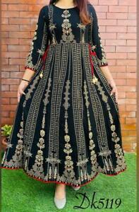 Indian Ethnic Long Anarkali Kurta Printed Beautiful Bollywood Gown Kurti Tunic