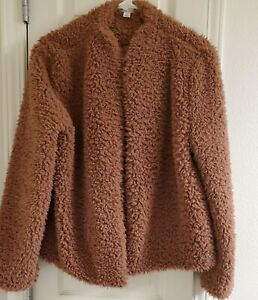 Women's MELROSE & and MARKET Dusty Rose Mauve Fuzzy Teddy Bear style coat Size M