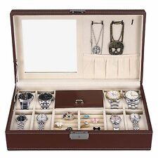 NEW Brown Leather Mens Unisex Jewelry Box 8 Watch Organizer Storage Case w Lock