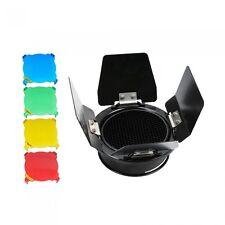Godox db-03 Montaje Universal Barn Door 3 En 1 Panal Rejilla + Gel De Filtros De Color