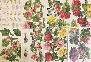 Anna Griffin 49pc Die Cut Embellishments 8 Sheets Flowers Birds Sentiments