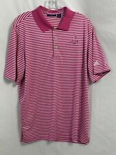 Pinehurst by adidas Pink and White Striped Short Sleeve Polo Shirt, Men's Size L