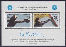 Bund Sporthilfe Entwurf Block 1984 **, Rothacker Für den Sport, postfrisch, MNH