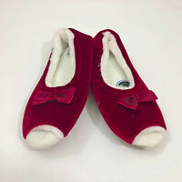 NWT Snoozies Peep Toe Burgundy Slippers Non Slip US Size 11-12 XL