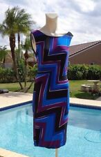 MAX MARA MULTICOLOR GEOMETRIC PRINT STRETCH SLEEVELESS DRESS Sz 44 MADE IN ITALY