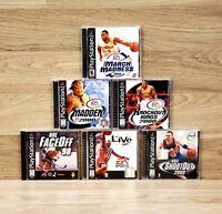 Lot of 6 Playstation 1 PS1 Sports Games Madden NCAAB Knockout Kings NHL NBA