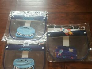 Kids Face Mask/Shield Sets- Shark And Rocket/Space Lot Of 3 NEW