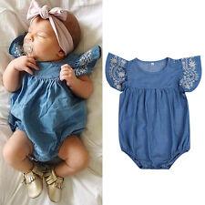 Fashion Newborn Baby Girl Denim Romper Jumpsuit Bodysuit Outfits Sunsuit Clothes