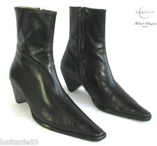 ESPACE CLERGERIE - BOOTS BOOTIES ALL LEATHER LAMB BLACK 38 - EXCELLENT CONDITION