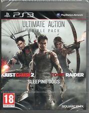 Tomb Raider/causa justificada 2/perros de dormir, tres juegos en un paquete PS3 ~ Nuevo