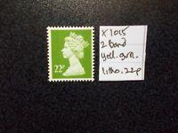 GB 1971+~ Machin~22p~SG X1015~Two Band~Yellow Green~Unmounted Mint~UK
