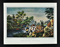Currier & Ives Print - The Trout Stream - Fly Fishing Waterfall Fishermen Fish