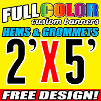Custom Print 16oz Vinyl Outdoor Banner 2' X 5' FT Business Advertise Flex Sign