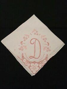 "Vintage Madeira Wedding Hanky Monogram D Pink Flowers Embroidery Bridal 13"""