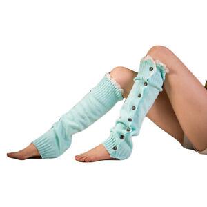 Women Knitted Lace Button Boot Socks Leg Warmers Warm Crochet Long Leg Stockings