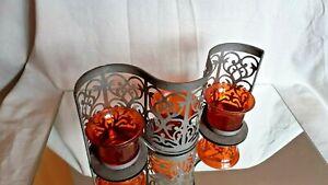 BLACK METAL  & RED GLASS TEA LIGHT CANDLE HOLDER