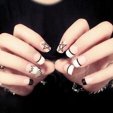 24Pcs Acrylic Designer Fake Nail Tips DIY French Fingernail Full False Nails Art