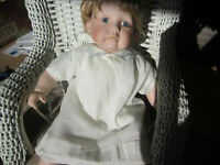 Darling Vtg. White Infant/Doll Dress and Slip  with Blue Embroidered Collar. #12