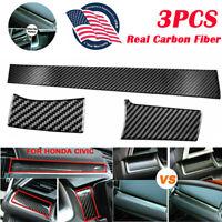 Carbon Fiber Glossy Black Center Dashboard Console Cover Trim Sticker For Honda