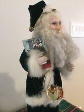 Vintage Father Christmas Green Velvet Bisque Santa Claus Figure Doll Rabbit Fur