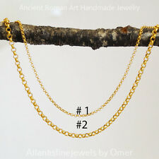 "Chain For Pendants 24 k Gold Plated #1 20 "" Sterling Silver Plain Fine Rolo"