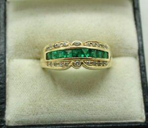 Vintage Beautiful 14 Carat Gold Princess Cut Emerald And Diamond Ring Size Q.1/2