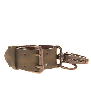 DIESEL A-HERO Leather Keyring Washed Double Pin Buckle Aged Metal Mohawk Logo