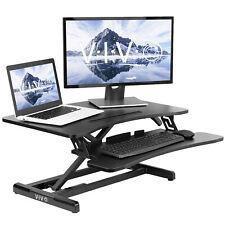 "VIVO Black Height Adjustable Standing Desk Monitor Riser 30"" Sit Stand Tabletop"